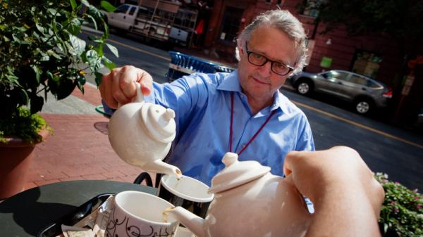 Joe Palca serves up some hot tea on a very hot day at Teaism in Washington, D.C., last week.