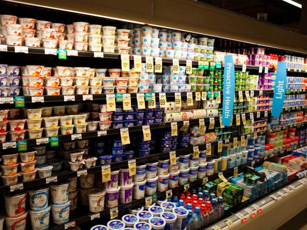 A supermarket's dairy case with shelves of yogurt.