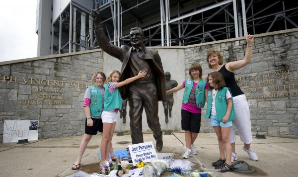 "Some newspaper columnists have said the statue should be taken down, while a small plane pulled a banner over State College reading, ""Take the statue down or we will."""
