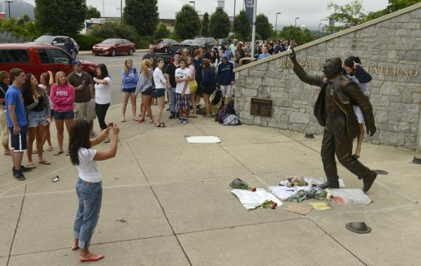 "Penn State President Rod Erickson said he decided to have the statue removed and put into storage because it ""has become a source of division and an obstacle to healing."""