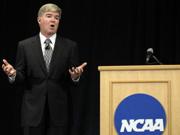 NCAA President Mark Emmert answers questions about the sanctions against Penn State's football team during a news conference in Indianapolis, Monday, July 23, 2012. The NCAA slammed Penn State with an unprecedented series of penalties in the wake of the Jerry Sandusky child sex abuse scandal.