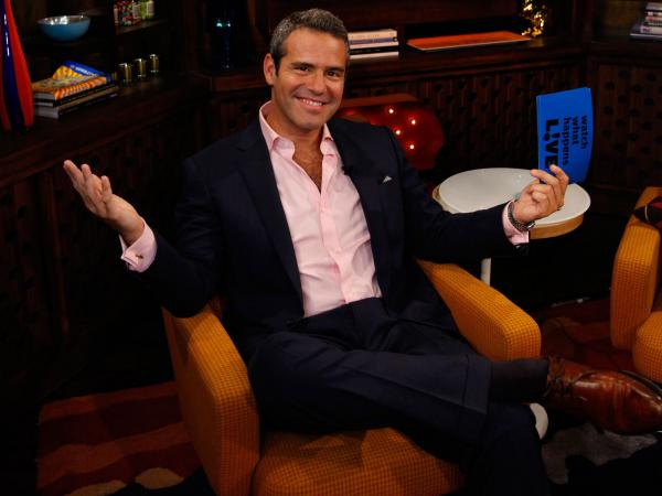 Andy Cohen on the set of his nightly Bravo talk show, <em>Watch What Happens: Live. </em>Cohen is also Bravo's executive vice president of development and talent, and has helped make Bravo a pop-culture heavyweight.