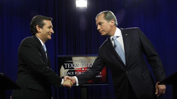 Ted Cruz, left, and David Dewhurst shake hands before their Republican Senate debate in Dallas on June 22.