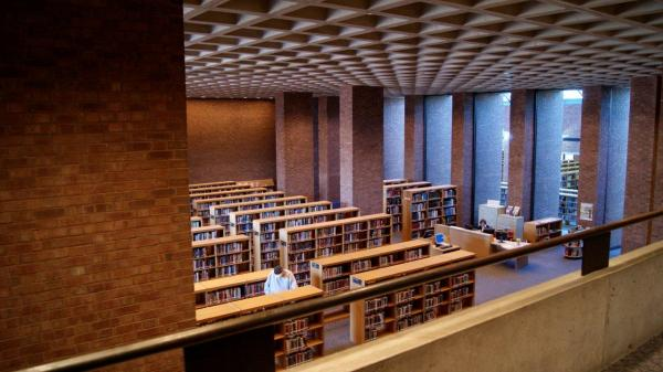 Across from the First Christian Church, I.M. Pei's Cleo Rogers Memorial Library boasts a waffled concrete ceiling that, with help from an elaborate intake system, uses heat from the ceiling lights to warm the building in winter months.