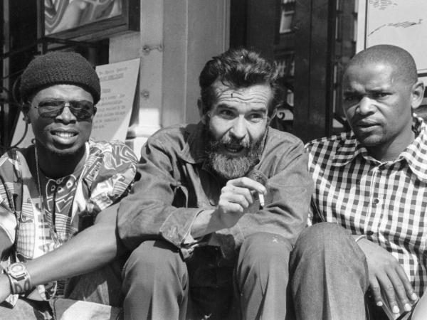 South African playwright Athol Fugard (center) with actors John Kani (left) and Winston Ntshona at the Royal Court Theatre in London in 1973.
