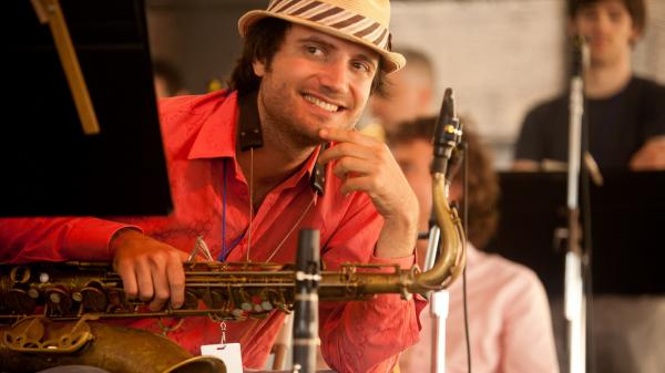 Sam Sadigursky, photographed here at the 2010 Newport Jazz Festival, is scheduled to return this weekend with Darcy James Argue's Secret Society.