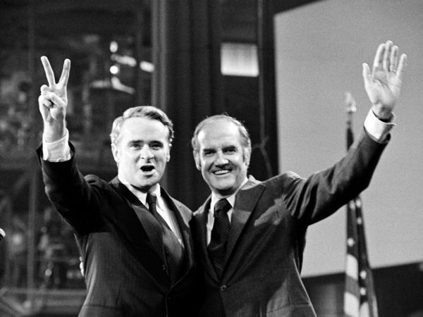 U.S. Sen. Thomas Eagleton, the vice presidential nominee, and Sen. George McGovern, the presidential candidate, stand before the delegates to the 1972 Democratic National Convention in Miami Beach, Fla. Less than a month after he was picked, Eagleton would be off the ticket.