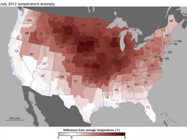 "From NOAA: This map ""shows where July 2012 temperatures were different from the 1981-2010 average across the contiguous United States. Shades of red indicate above-average temperatures and shades of blue indicate below-average temperatures the darker the color, the more unusual the temperature difference."""