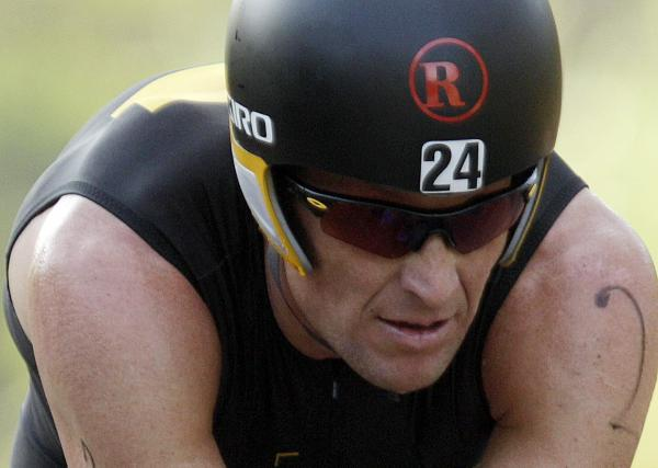 Lance Armstrong competes in the Ironman Panama 70.3. triathlon in Panama City, Panama.