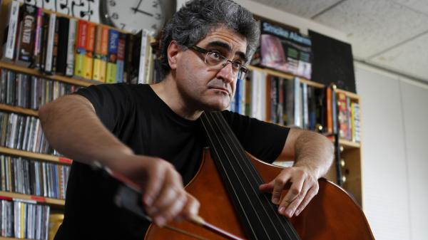 Renaud Garcia Fons performs a Tiny Desk Concert at the NPR Music offices.