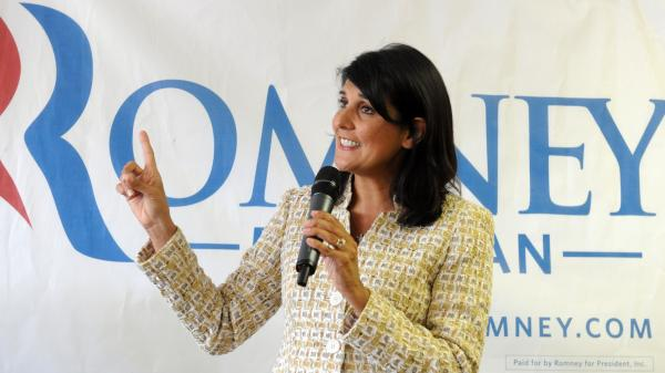 South Carolina Gov. Nikki Haley campaigns in Ann Arbor, Mich., on July 31 for Mitt Romney.