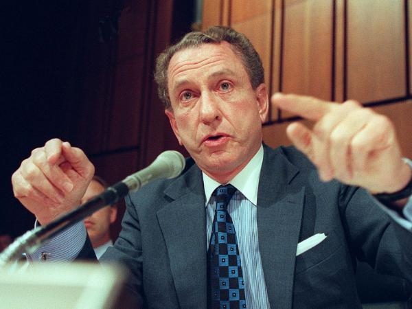 Sen. Arlen Specter, a member of the Senate Government Affairs Committee investigating campaign fundraising abuses, questions a witness during hearings on Capitol Hill on July 9, 1997.