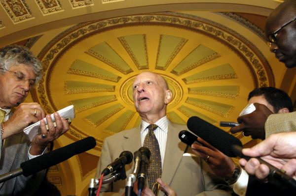 Specter speaks to reporters on Capitol Hill in July 2005. Five months earlier, he announced that he had been diagnosed with Hodgkin's disease, a cancer of the lymphatic system. He worked during chemotherapy, and on July 22, 2005, ended his treatment. Three years later, his cancer returned and he underwent chemotherapy again.