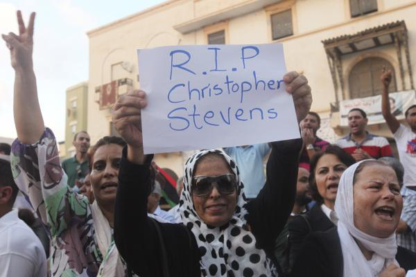 Demonstrators condemn the killing of Christopher Stevens, the U.S. ambassador to Libya, and the attack on the U.S. consulate, in Benghazi on Wednesday.