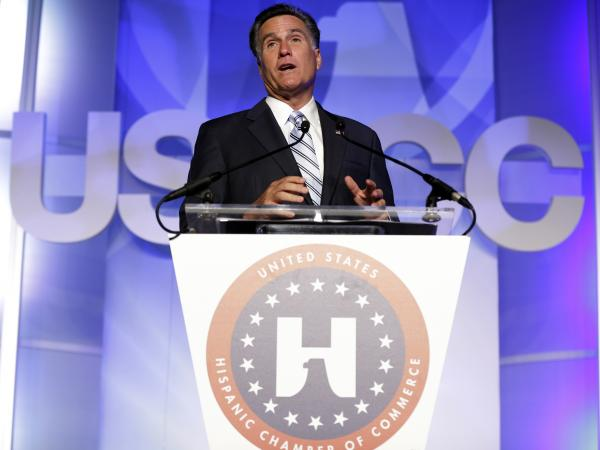 Republican presidential nominee Mitt Romney made his pitch for Latino votes at the U.S. Hispanic Chamber of Commerce convention in Los Angeles on Monday.