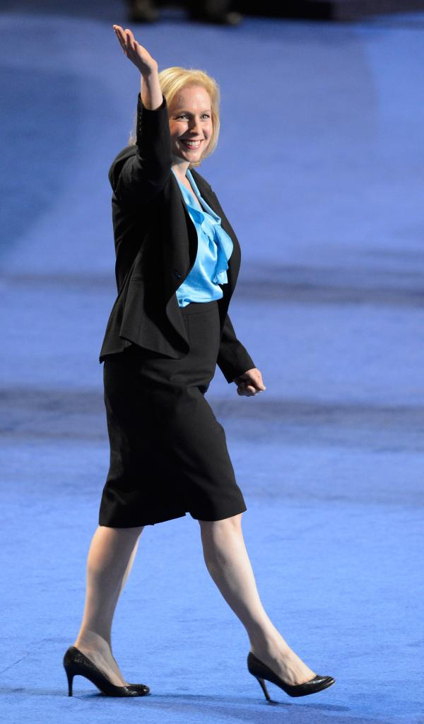 U.S. Democratic Sen. Kirsten Gillibrand of New York waves as she takes the stage at the Democratic National Convention in Charlotte, N.C., earlier this month.
