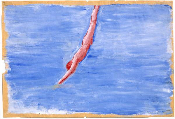 In his 1970 work <em>Untitled (Diver)</em>, Paul Thek uses acrylic on newspaper. The newspaper buckles under the paint, making waves beneath the diver.