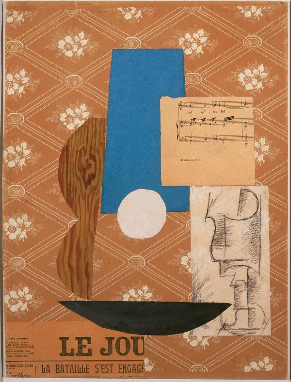 In his 1912 collage <em>Guitar, Sheet Music, and Glass,</em> Pablo Picasso included a fragment of the French paper <em>Le Journal</em><em>.</em>