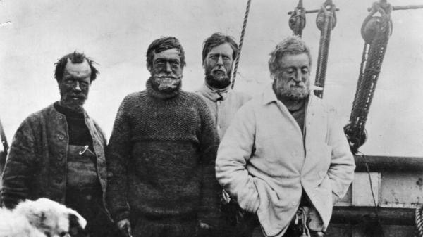 From left: Frank Wild, Ernest Shackleton, Dr. Eric Marshall and Jameson Adams head back to base camp after getting within 97 miles of the South Pole — closer than anyone had gotten before them — in January 1909.