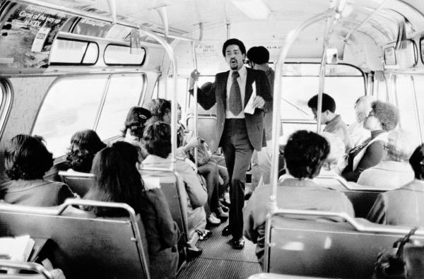 Bobby Seale, Panther chairman and co-founder, campaigns on a rush-hour bus in Oakland, Calif., on April 13, 1973, to be Oakland's mayor. He lost, coming in a close second place, showing the strength of the party in the city where they formed.