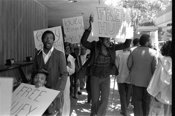 Black Panther members stage a protest outside the Canadian Consulate in San Francisco on June 27, 1977. The Canadian government detained Huey Newton as he returned from self-imposed exile in Cuba to stand trial for a 1964 murder. He was not convicted.