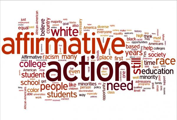 "A word cloud of listener responses to the question, ""Is there still a place for affirmative action in 2012, and why?"""