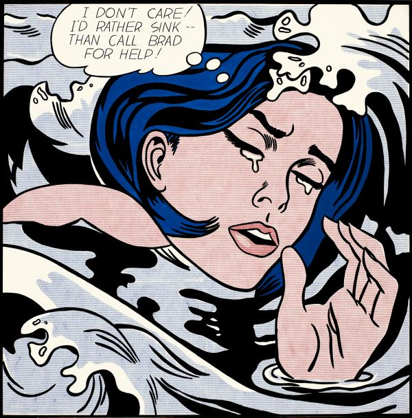 """I don't care! I'd rather sink — than call Brad for help!"" laments Lichtenstein's 1963 <em>Drowning Girl</em>."