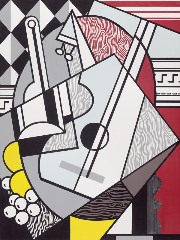 Pablo Picasso was Lichtenstein's hero, says National Gallery curator Harry Cooper. Lichtenstein painted his Picasso-inspired <em>Cubist Still Life</em> in 1974.