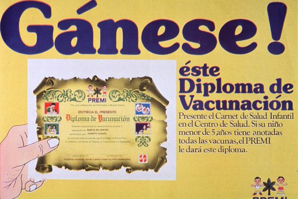 "A poster from Ecuador shows the ""vaccination diploma"" children receive after they're inoculated against polio, pertussis, diphtheria, tetanus, tuberculosis and measles. Polio was stamped out in the Western Hemisphere in 1991."