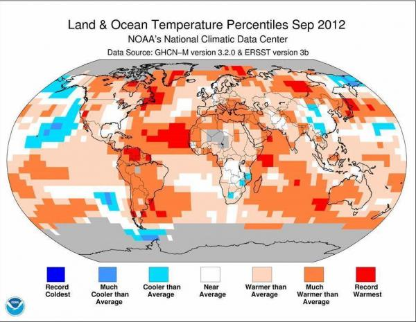 The redder the shading, the further above average were the temperatures in September.