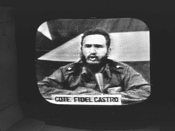Cuban President Fidel Castro replies to President Kennedy's naval blockade via Cuban radio and television on October 23, 1962. Kennedy enacted the blockade in response to the deployment of Soviet nuclear weapons in Cuba.