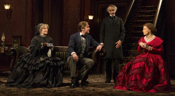 A revival of <em>The Heiress</em>, a 1947 play based on the Henry James novella <em>Washington Square</em>, opens at the Walter Kerr Theatre in New York on Nov. 1. It stars (from left) Judith Ivey, Dan Stevens, David Strathairn and Jessica Chastain.