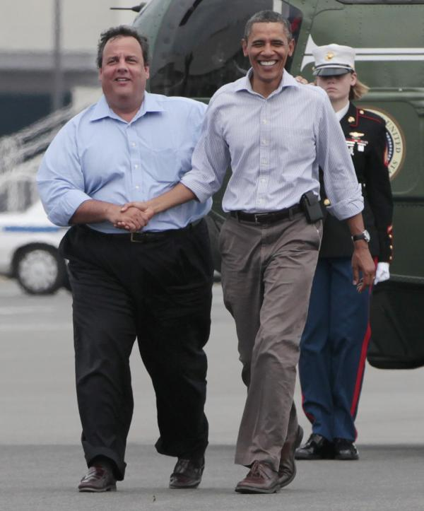 President Obama and New Jersey Gov. Chris Christie meet to tour damage from another storm, Hurricane Irene, on Sept. 4, 2011.