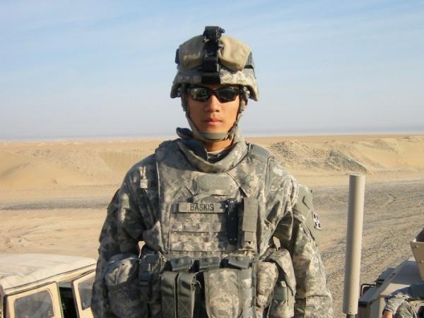 Spc. Steve Baskis goes on patrol in Iraq.