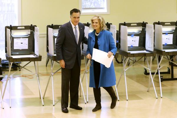 Republican presidential candidate, former Massachusetts Gov. Mitt Romney and wife Ann Romney vote in Belmont, Mass., on Tuesday.