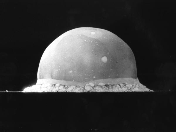 "The relationship between science and the government shifted dramatically in the wake of World War II, when the fruits of basic research resulted in an applied technology that changed the course of the war and world forever. Above, a nuclear explosion at the <a href=""http://www.wsmr.army.mil/PAO/Trinity/Pages/default.aspx"">Trinity Site</a> on July 16, 1945."