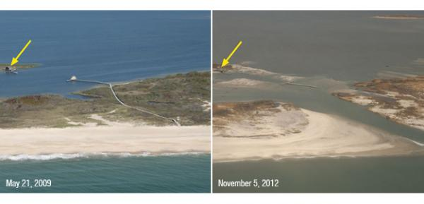 A portion of Fire Island, N.Y., was breached during Sandy, creating a new inlet. Despite the breach, a fishing shack on nearby Pelican Island (yellow arrow) remained standing.