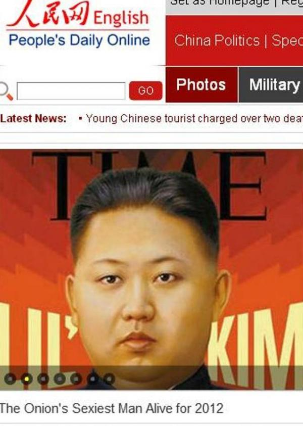"Before it disappeared from the Web: Here's how People's Daily Online packaged its coverage of the ""news"" that Kim Jong Un is 2012's sexiest man."