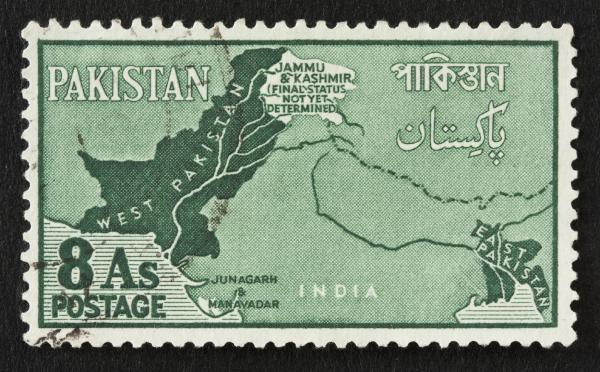 A stamp issued in 1960 shows the disputed Kashmir region between Pakistan and India.