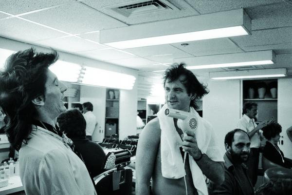 The Rolling Stones on <em>Saturday Night Live,</em> 1978. Bill Murray blow-drying Ron Wood's hair.