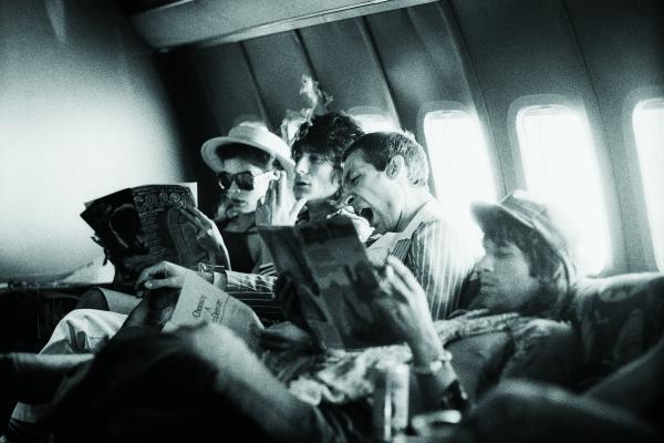 Tour of the Americas, on the plane between San Antonio and Kansas City,<br />June 1975, (left to right) Bianca Jagger, Ron Wood, Charlie Watts and Keith Richards.
