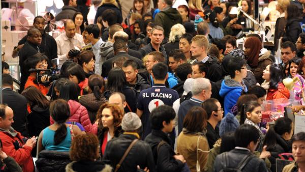 "The crowded scene on ""Black Friday"" at Macy's in Manhattan. The U.S. population is projected to hit 400 million in 2051, Census says, up from 321 million in 2015."