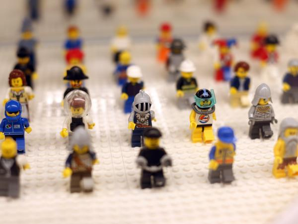 "Lego minifigures are displayed on October 18, 2012 in the newly-opened store of the Danish construction toys group at the ""So Ouest"" shopping center in Levallois-Perret, west of Paris."