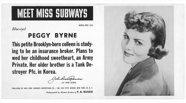 Byrne was Miss Subways March-April 1952.