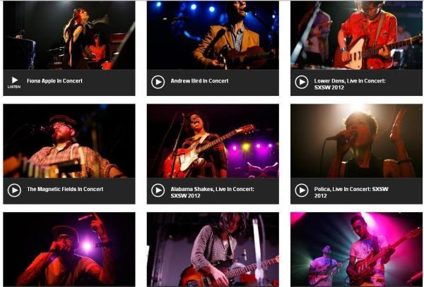 "NPR Music <a href=""http://www.npr.org/templates/archives/archive.php?thingId=7729350"">SXSW: Live From Austin</a> concerts"