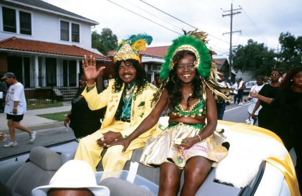 Ernie and Antoinette K-Doe in a Treme neighborhood parade in 2000<em>.</em>