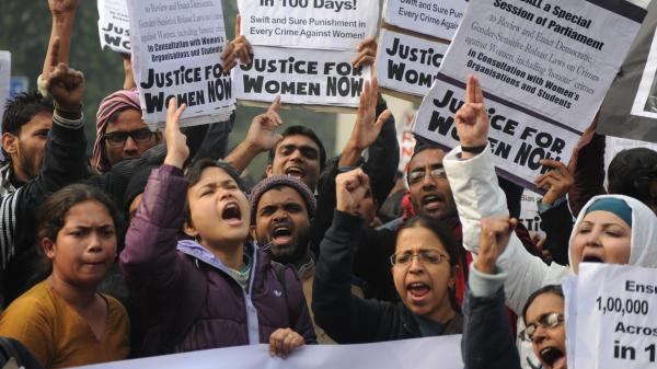 Demonstrators rally in New Delhi on Thursday as part of ongoing protests following the rape of a student in the Indian capital on Dec. 16