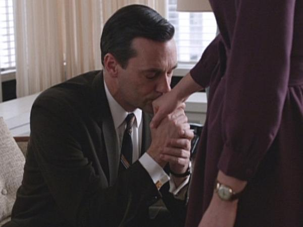 "Don Draper (Jon Hamm) and Peggy Olson (Elisabeth Moss) in the pivotal <em>Mad Men </em>episode, ""The Other Woman."""