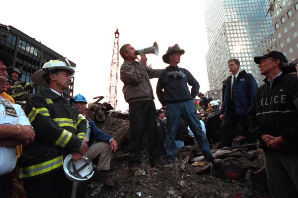 Bush addresses rescue workers at ground zero.