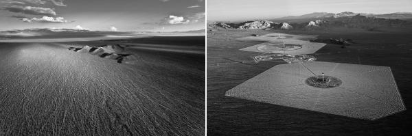 A section of the Mojave desert photographed before full construction commencement of Ivanpah Solar (left) and two years later (right).